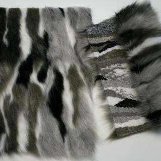 Detail faux fur fabric article mink color grey/black/ white
