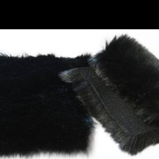 Detail faux fur fabric article fox color black