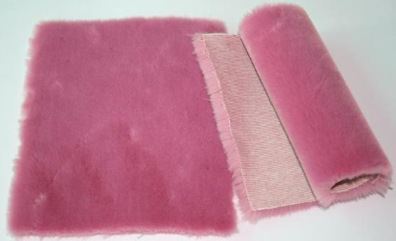 Detail faux fur fabric article beaver color pink