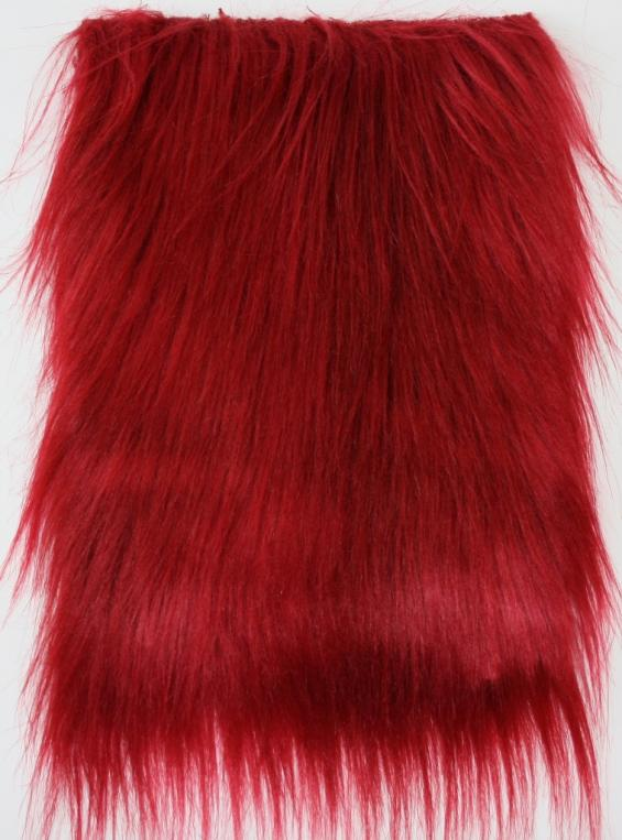 detail faux fur fabric article smooth mongolia red