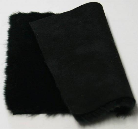 Detail eco-sheepskin fabric - color black