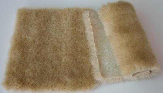 Detail faux fur fabric article mink color honey
