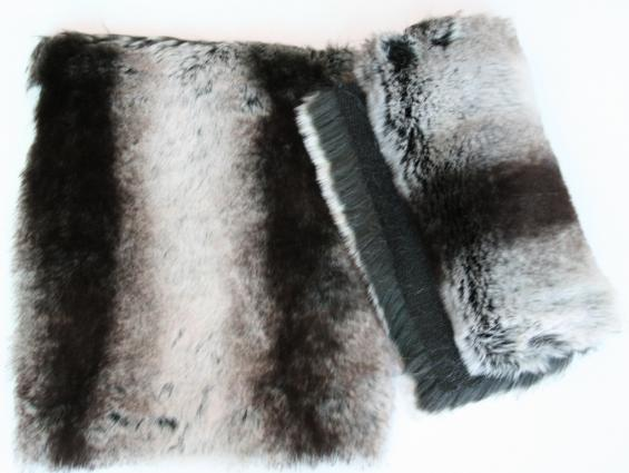 Detail faux fur fabric article chinchilla color grey black