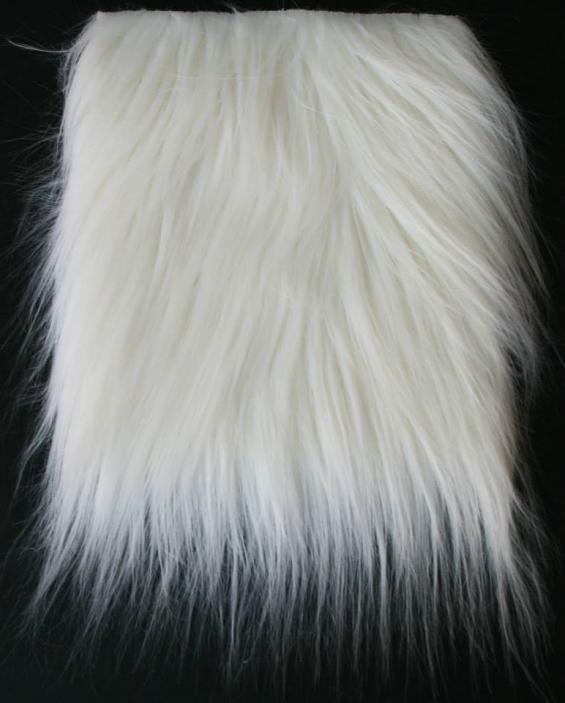 Detail faux fur fabric article smooth mongolia color white