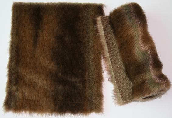 Detail faux fur fabric article mink color brown variegated