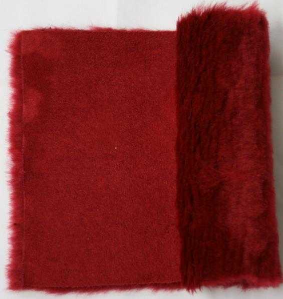 Detail eco-sheepskin fabric - color red
