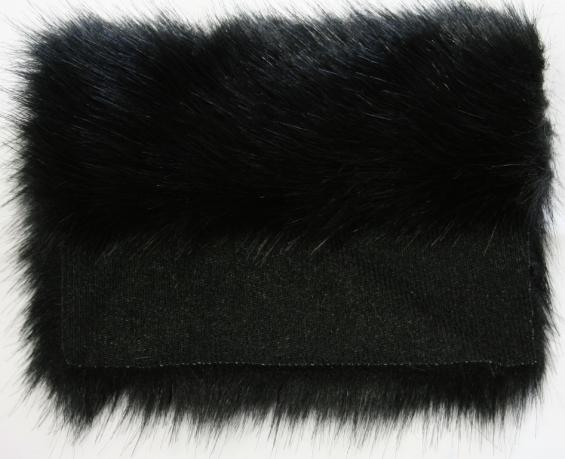 Detail faux fur fabric article fox splendor black