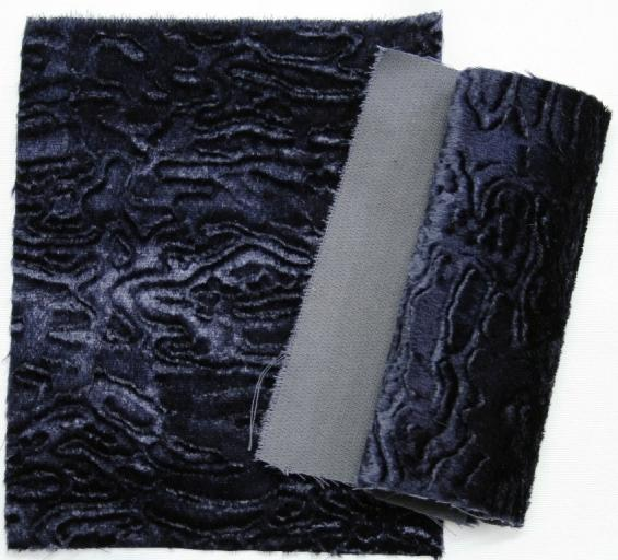 Detail faux fur fabric article persian color blue navy