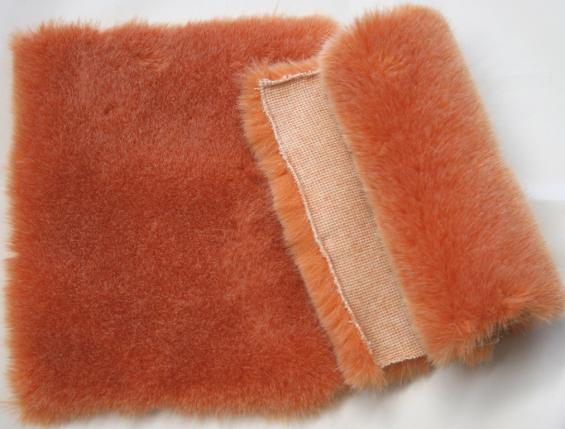 Detail faux fur fabric article fox color orange