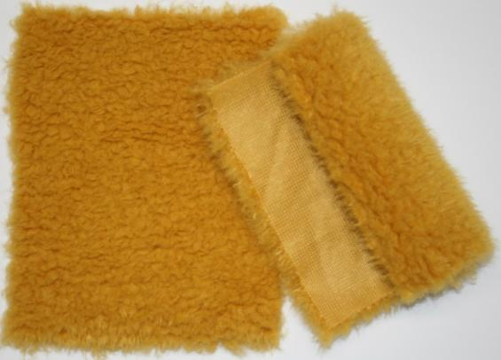 Detail syntethic fur fabric art. Sint P 05 color mustard
