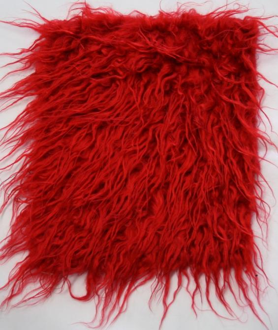 Detail faux fur fabric article S/ Mongolia red