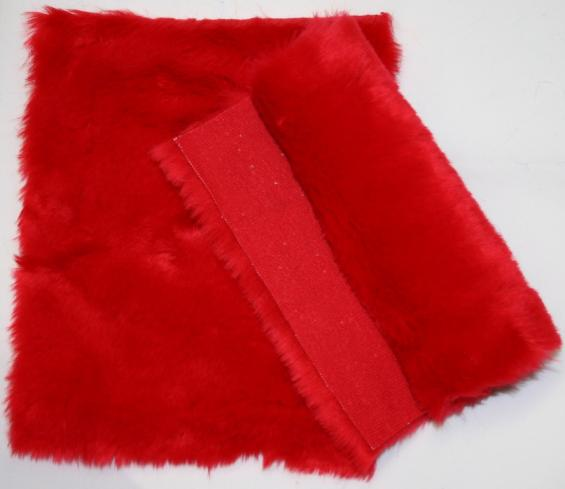 Detail syntethic fur fabric art. Sint C super color lively red