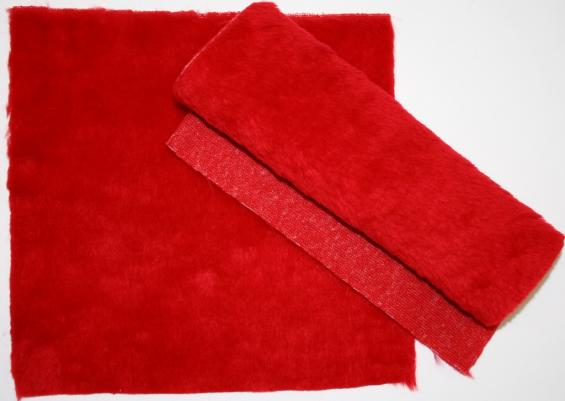 Detail syntethic fur fabric art. Sint C 01 red