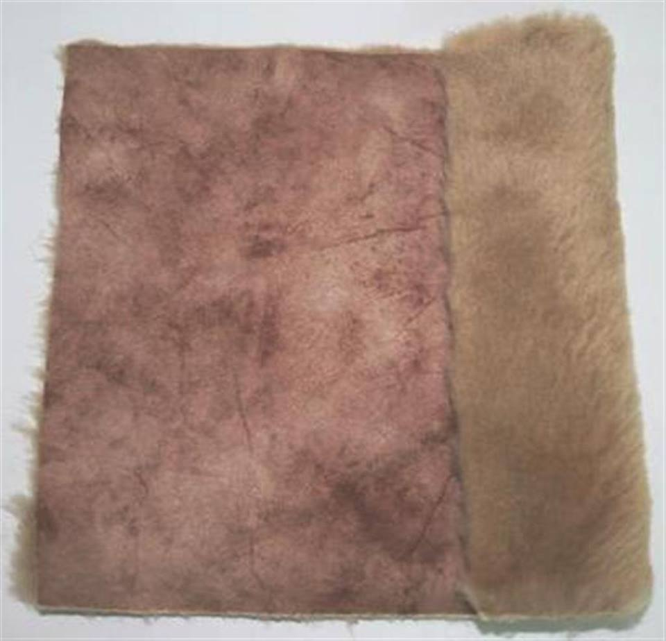 Detail eco-sheepskin fabric - color beige brown variegated