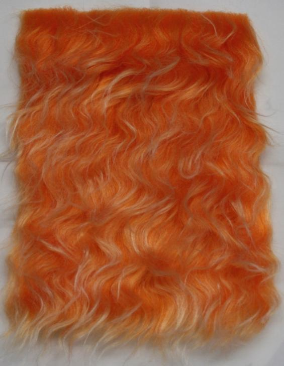 Detail syntethic fur fabric art. Sint LO 01 color orange with silver filaments